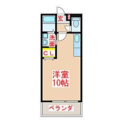CubeX 1階ワンルームの間取り