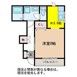 JR信越本線 越後石山駅 徒歩15分の賃貸アパート 1階1Kの間取り