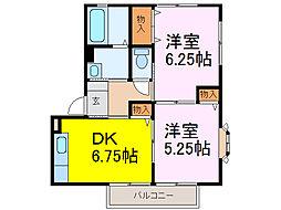 茨城県古河市東2丁目の賃貸アパートの間取り