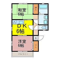 茨城県古河市仁連の賃貸アパートの間取り