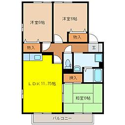 23番館 A・B[A205号室]の間取り