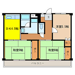 ビレッジハウス尾上 1・2・3号棟[1階]の間取り