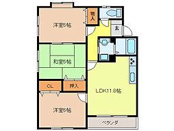 三浦コーポ2000 B[1階]の間取り