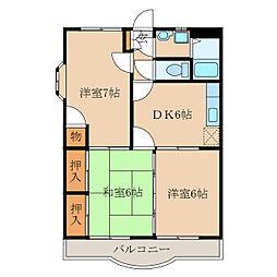 今坂マンションA棟[2階]の間取り