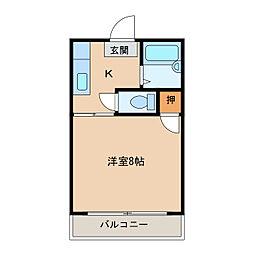 かりんハイツII[1階]の間取り