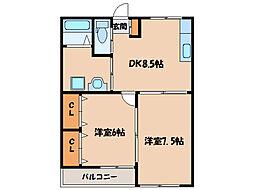 福島ラ・クオーレ[1階]の間取り