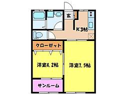 リヴィエールA棟[1階]の間取り