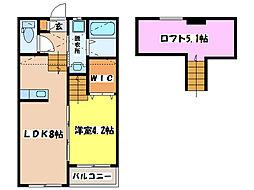 RESIDENCE NISHIHARA I、II[A202号室]の間取り