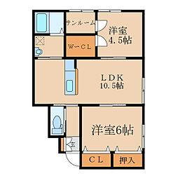 田崎町新築アパートB棟(仮称 1階2LDKの間取り