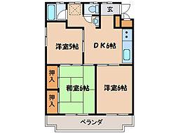 埼玉県東松山市箭弓町3丁目の賃貸マンションの間取り