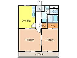 ヴィーブルTASHIRO[2階]の間取り