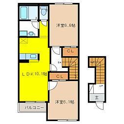ロイヤルハイツY・Y[2階]の間取り