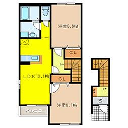 エスポアールFukuno[2階]の間取り