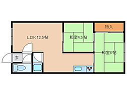 北海道函館市本通1丁目の賃貸アパートの間取り