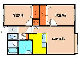 北海道亀田郡七飯町大中山2丁目の賃貸アパートの間取り