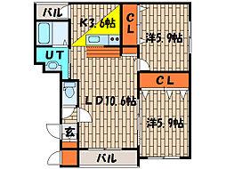 北海道函館市元町の賃貸マンションの間取り