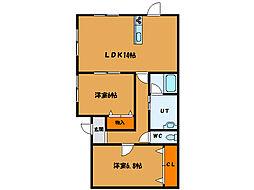 北海道函館市志海苔町の賃貸アパートの間取り