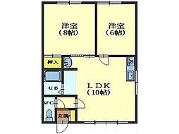 北海道函館市日吉町1丁目の賃貸アパートの間取り