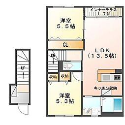 北海道函館市吉川町の賃貸アパートの間取り