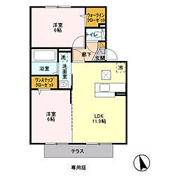 JR内房線 長浦駅 バス5分 蔵波台下車 徒歩3分の賃貸アパート 1階2LDKの間取り