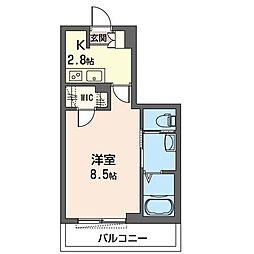 JR内房線 五井駅 徒歩9分の賃貸マンション 3階1Kの間取り