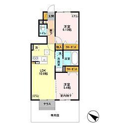小湊鉄道 上総村上駅 徒歩35分の賃貸アパート 1階2LDKの間取り