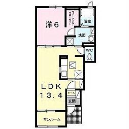JR内房線 袖ヶ浦駅 徒歩9分の賃貸アパート 1階1LDKの間取り