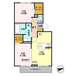 京成千原線 ちはら台駅 徒歩34分の賃貸アパート 3階2LDKの間取り