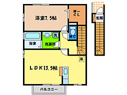 ローズコート野神B[2階]の間取り