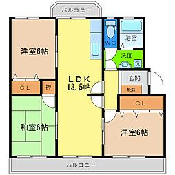 第1コーポ浜田[2階]の間取り