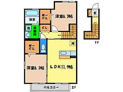 ロン・ラポールA[2階]の間取り