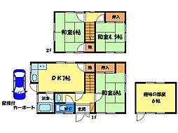 [一戸建] 徳島県徳島市八万町中津山 の賃貸【/】の間取り