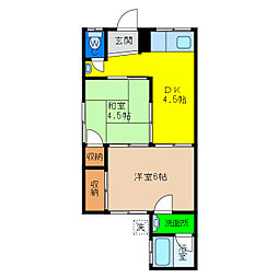 新浜アパート[1階]の間取り