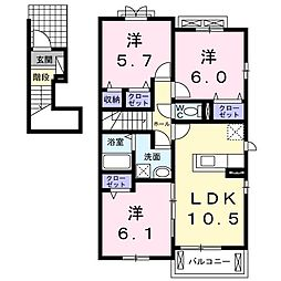 エトワール沖洲B[2階]の間取り