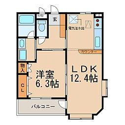 ソシアII(久保一色)[2階]の間取り