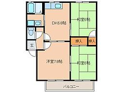 コーポふじ(小木)[2階]の間取り