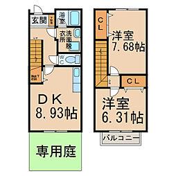 [テラスハウス] 愛知県小牧市大字東田中 の賃貸【愛知県 / 小牧市】の間取り
