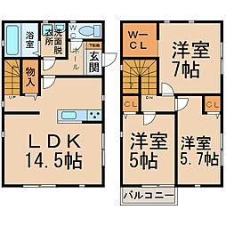 [一戸建] 愛知県小牧市堀の内1丁目 の賃貸【/】の間取り