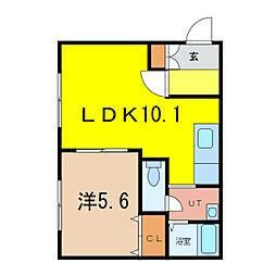 アスレSKII 1階1DKの間取り