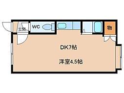 レオナ豊岡5・6 2階1DKの間取り