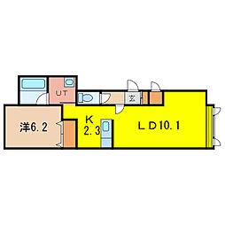 グランオアシスB[1階]の間取り