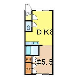 第5リバーハイツ藤[1階]の間取り