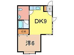 スカイハイツ東2ー4[1階]の間取り