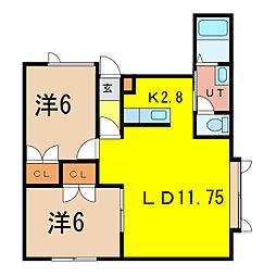 ハイム北欧館B[2階]の間取り