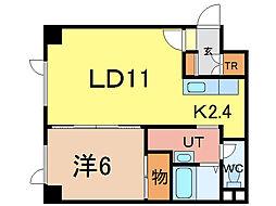 アポロ 3階1LDKの間取り