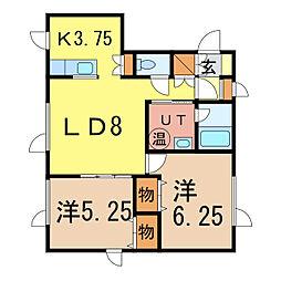 プロスパーハイムA・B[2階]の間取り