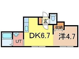 パフューム 2階1DKの間取り