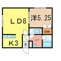 ABEハイツ 1階1LDKの間取り