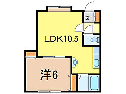 AZ-2 2階1LDKの間取り