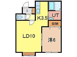 シンフォニー宮下 B棟[2階]の間取り